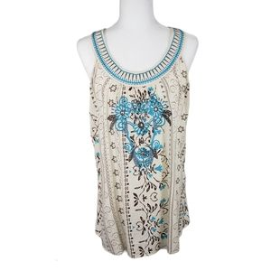 ONE WORLD Boho Embroidered Halter Top Size S